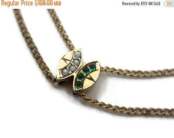OnSale Antique Victorian Slide Necklace - Gold Watch Chain with Emerald Glass and Faux Pearl Slide Charm