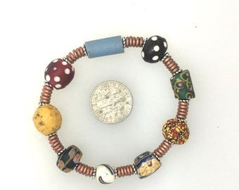 OnSale African Trade Bead Bracelet #4.  6 1/2 ins