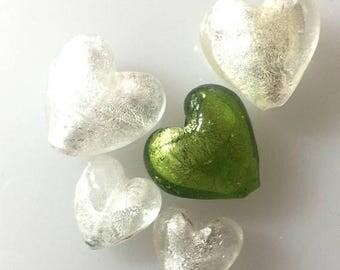 OnSale Venetian Silver Lined Glass Hearts