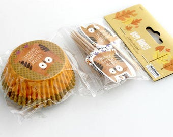 Owl Cupcake Cup Liners. Harvest. Thanksgiving.