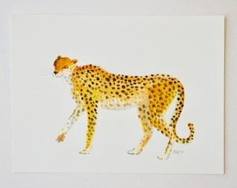Original Watercolor Painting, The Fierce Cheetah, gouache paint, art for kids, kids decor, animal art, animals, safari art, polka dots