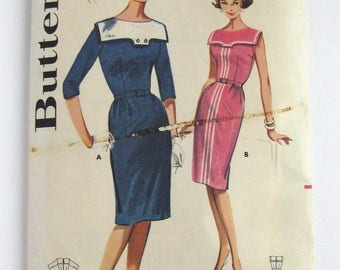 1960s Butterick pattern 2139 Misses Slim Skirted Dress size 18 bust 38