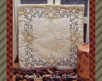Berry Star Garland Candle Mat--Primitive Candle Mat Stitchery Pattern-E-PATTERN--Instant Download