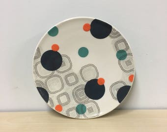 handmade porcelain dinner plate: Dot Dot Rounded Square Plate by Meredith Host, turquoise, mid mod, orange dots, polkadots, wheel thrown
