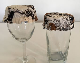 Reusable Wine Cup Glass Cover Brown Black Fabric