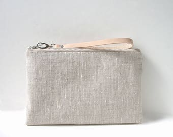 Wristlet, Clutch Bag, Simple Linen Wristlet, Casual Clutch