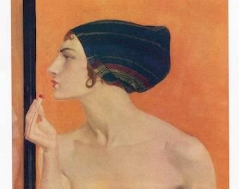 Antique Print, Young Flapper Woman, Vamp with Lipstick, 1915 Vintage Lithograph Bookplate Illustration, Original Print, Wall Decor, Art Pri