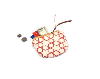 coin purse • small zipper pouch • pink geometric print - screenprinted star and hexagon print - zipper pouch • coin pouch
