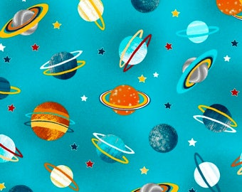 Planets Teal Space Adventure Studio E Fabric