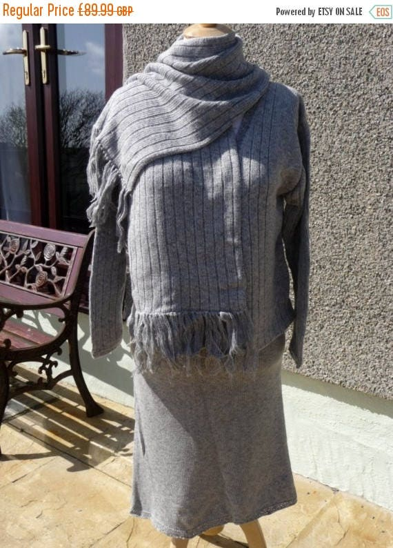 Christmas In July Knitted Suit, Comprising of Skirt, Jacket and Scarf all matching