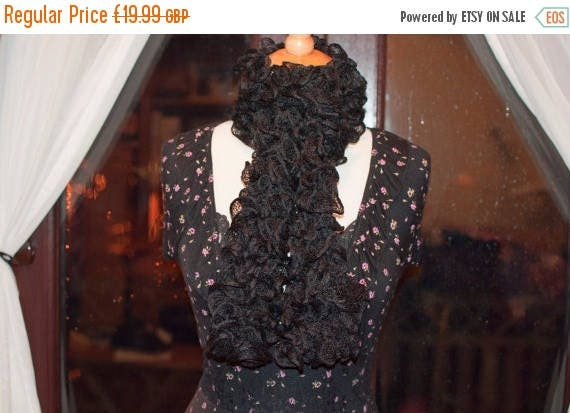 Christmas In July Handknitted Ruffles Scarf in Black