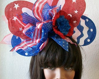 Patriotic 4th of July Red White and Blue Butterfly Headband, Hat, Stars, Netting, Florals