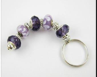 European Style Keychain Car Accessories Murano Lampwork Glass Beads Purple Key Chain