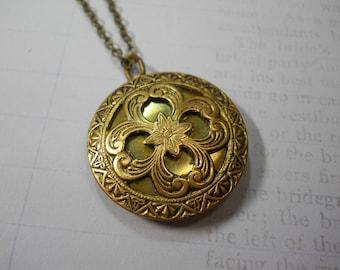 Brass Locket Necklace Women's Jewelry Fancy Brass Ornate Metal Filigree Embossed Metal One of a Kind Custom Chain Length Dainty Medium Size