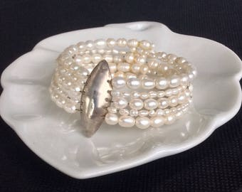 White Freshwater Pearl Bracelet with Sterling Silver Marquise
