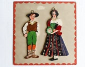 Vintage Hand Painted Folk Art Wood Figures from Poland, Traditional Costumes Of Poland