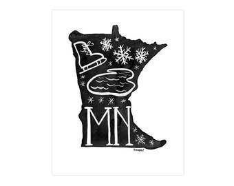 Minnesota State Print // 1canoe2 // Modern Art Print