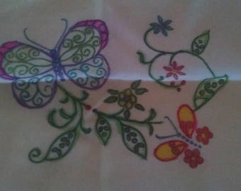Reclaimed and Upcycled Off White Set of 4 Linen Placemats with Butterfly and Flower Art Work Handpainted  Mom Sister Friend Birthday Wedding
