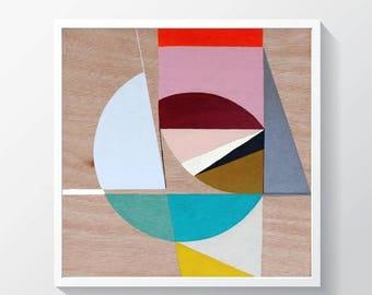 15% OFF Geometric acrylic painting on wood frame, colorful modern art, small wall decor, geometric wall art