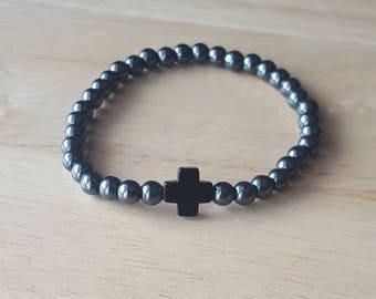 Cross bracelet for men, minimalist jewelry, stone bracelet men, stacking bracelet, confirmation gift for boys, husband gift, religious gift