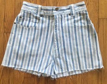 Vintage 90s Blue Striped High Waist Denim Cut Off Shorts - 26 inch waist