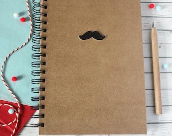 Movember. Mustache A5 Notebook. Moustache A5 Notebook. Lined Notebook. Spiral Notebook. Boyfriend Notebook. Hipster Notebook. Mustache.