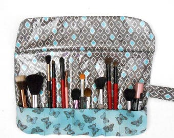 Grey Makeup Brush Holder, Turquoise Butterfly Print Brush Roll Up, Brush Travel Carrier, 7 Pockets for Storing Makeup Brushes, Brush Pouch