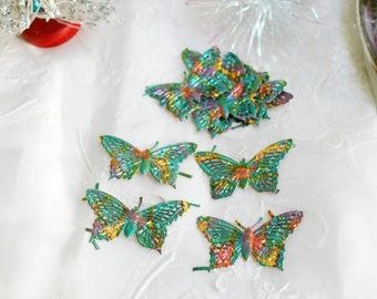 Vintage German DieCut Gold FOIL Dresden butterfly  Paper EMBELLISHMENTS