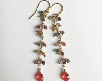 XMAS IN JULY 20% off, Padparadscha Rainbow Dangle Earrings