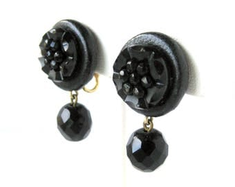 Vintage Earrings / Black Carved Dangle Earrings / Clip-On Backs / Black Earrings / Leather Wrapped Earrings / Signed Costume Jewelry / Gift