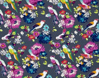 Gigi Blooms Hello Birdie Gray Color ~ Gigi Collection for Adornit Fabrics