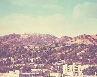SALE photography, Hollywood sign photograph,The Hills landscape Los Angeles California retro vintage, travel movies film cinema 8x8