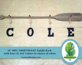 """Four Baby Name Letters and 58"""" 4PEG Driftwood Stained Rack Painted Name 5x6 Letters with Nautical Rope / Nautical Nursery Decor / Canoe Oar"""