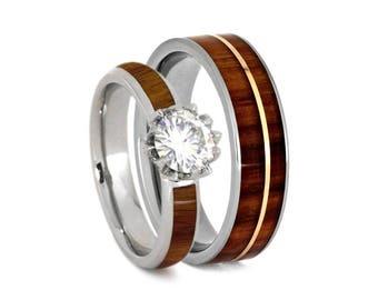 Tulipwood Wedding Ring Set, Lotus Engagement Ring With Rose Gold And Titanium