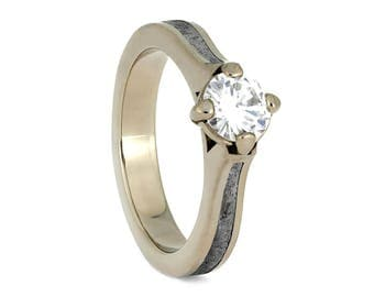 White Gold Solitaire, Meteorite Engagement Ring With Moissanite, Simple Wedding Ring