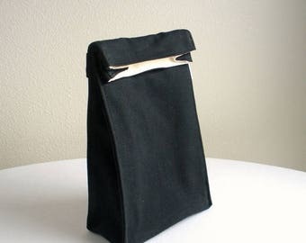 ON SALE Insulated Lunch Bag - Eco Friendly, Organic Cotton - Black