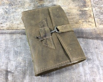Olive Green MD Leather Journal with Key