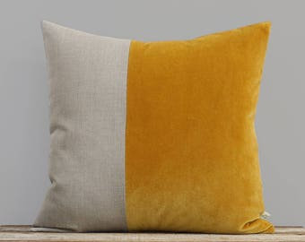 Velvet Colorblock Pillow Cover in Golden Mustard and Natural Linen by JillianReneDecor, Modern Home Decor, Two Tone Color Block Pillow