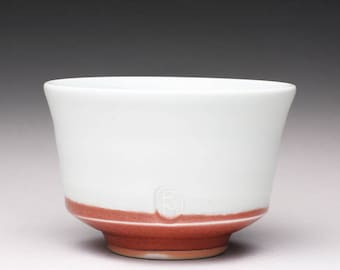handmade porcelain tea cup, ceramic chawan, pottery  tea bowl with turquoise celadon and bright red glazes