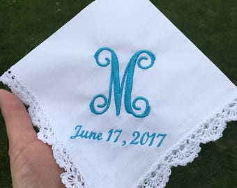 Personalized Handkerchiefs Hankies Custom customized Monogramed