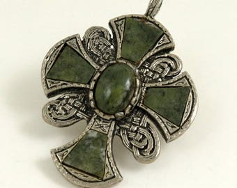 Vintage Miracle Style Celtic Cross Pendant with Real Green Agate Stones, Unsigned Miracle, Scottish Cross, Gothic Corss, Medieval Cross
