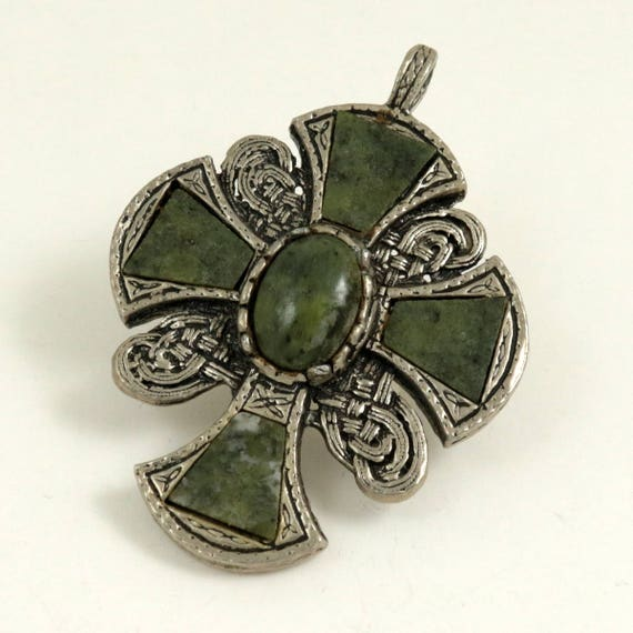 Vintage Miracle Style Celtic Cross Pendant with Green Agate Stones, Unsigned Miracle