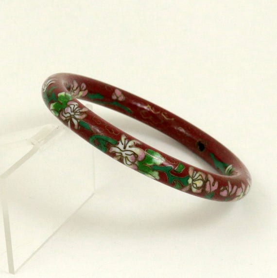 Vintage Chinese Cloisonne Bangle Bracelet, Red Brown Enamel Floral Bangle