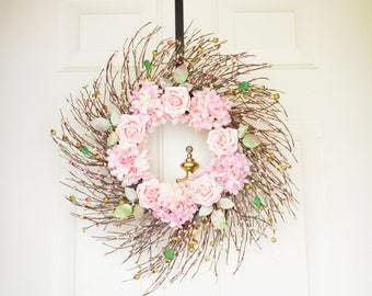 Pink Rose Wreath READY TO SHIP Spring Summer Door Wreath Front Door Wreath Grapevine twig wreath Baby Girl Shower Wedding wreath