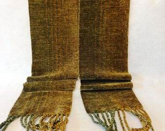 Handwoven Chenille Scarf, Brown Scarf, Chenille Scarf, Woven Scarf, Handwoven Scarf, Handwoven Chenille Scarf, Woven Scarf (#17-15A)