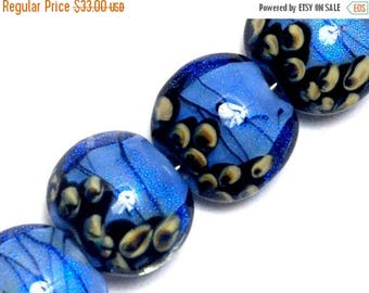 ON SALE 35% OFF Four Arctic Blue Shimmer Lentil Beads - 10413412 Handmade Glass Lampwork Beads