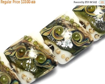 ON SALE 35% OFF Glass Lampwork Bead Set - Four Olive Stardust Pillow Beads 10505714