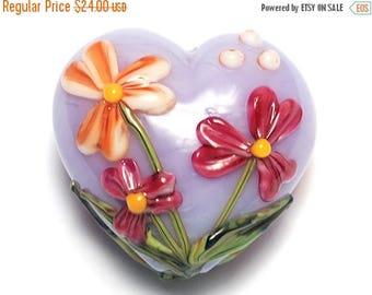 ON SALE 30% off Morgan's Bouquet Heart (Large) - 11833525 - Handmade Glass Lampwork Beads