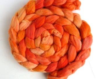 Organic Polwarth Roving - Hand Painted Spinning or Felting Fiber, Oranges
