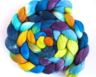 Daydreams, Rambouillet Wool Roving - Hand Painted Spinning or Felting Fiber